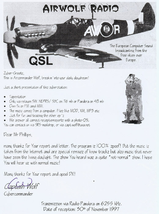 Airwolf Radio QSL