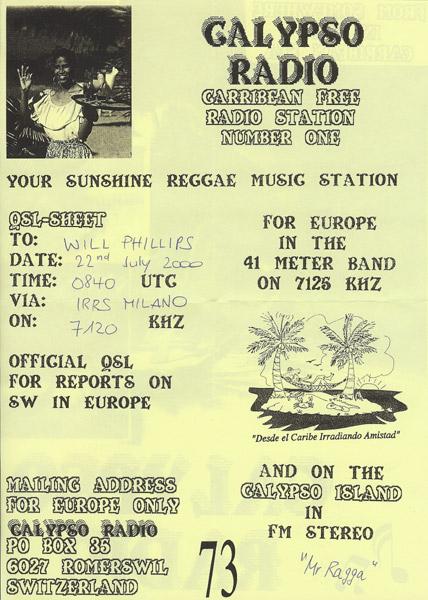 Calypso Radio QSL
