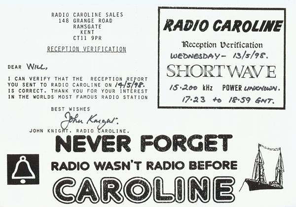 Radio Caroline QSL