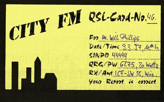 City FM QSL