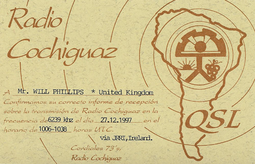Radio Cochiguaz QSL