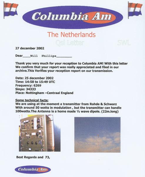 Columbia AM QSL