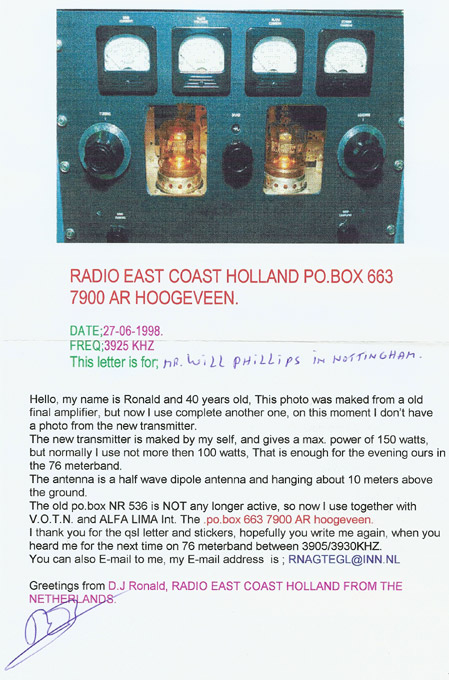 Radio East Coast Holland QSL