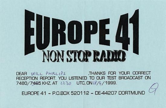Europe 41 QSL