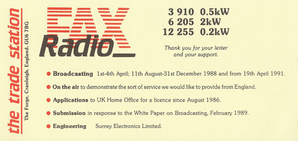 Radio Fax (Reflections Europe) QSL