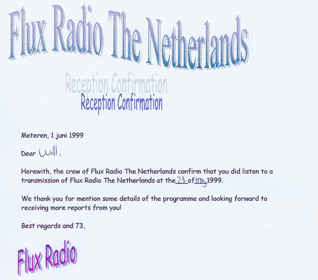 Flux Radio QSL