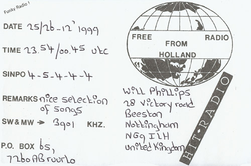 Free Radio From Holland QSL