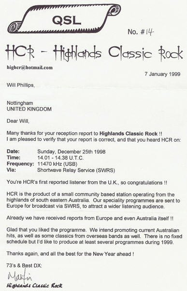 Highlands Classic Rock QSL