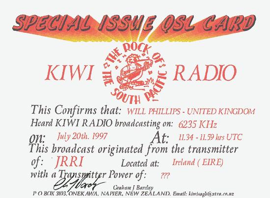 KIWI Radio QSL