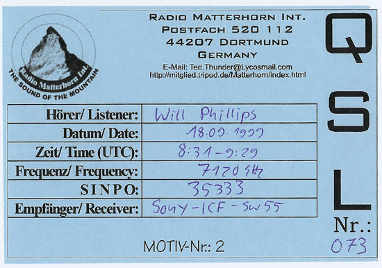 Radio Matterhorn International QSL
