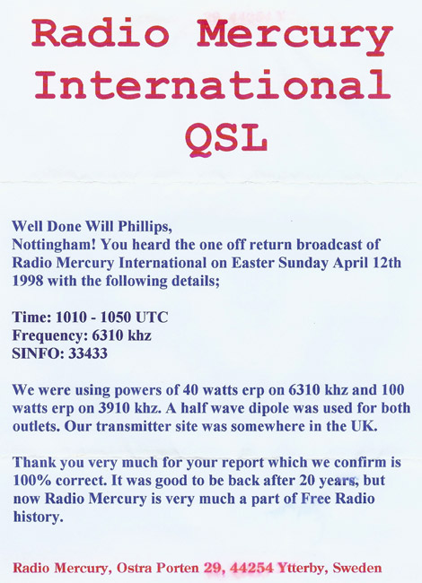 Radio Mercury International QSL