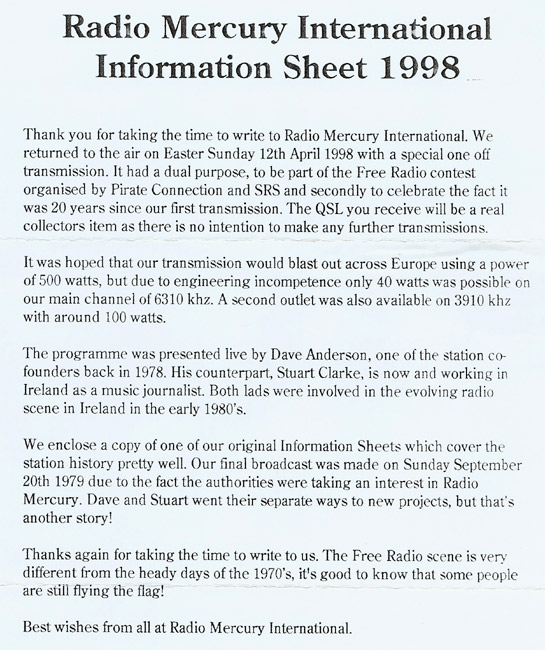 Radio Mercury International info sheet