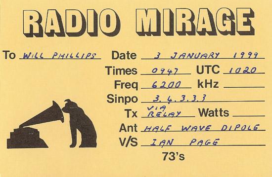 Radio Mirage QSL