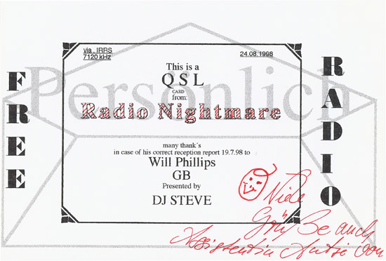 Radio Nightmare QSL