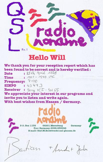 Radio Noname QSL