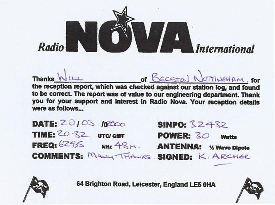 Radio Nova QSL