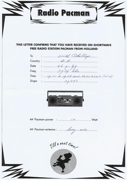 Radio Pacman QSL