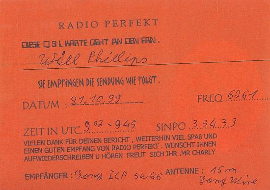 Radio Perfekt QSL