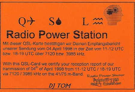 Radio Power Station QSL