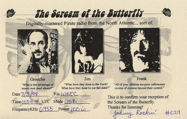 Scream of the Butterfly QSL