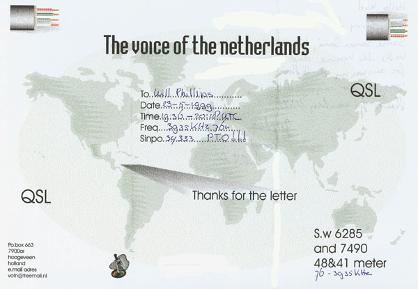 The Voice of the Netherlands QSL