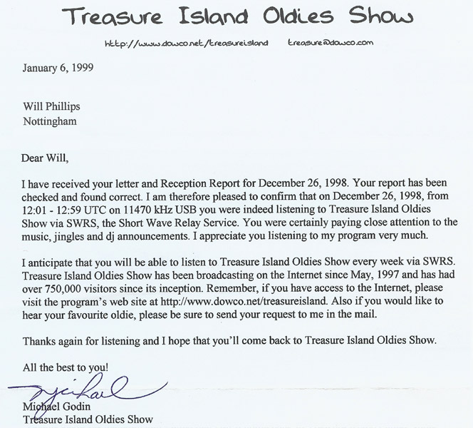Treasure Island Oldies Show QSL