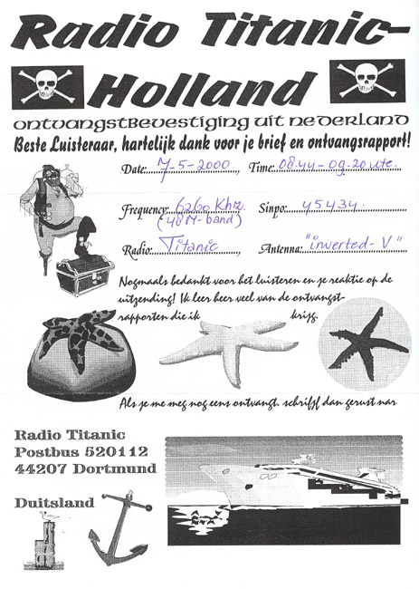 Radio Titanic Holland QSL