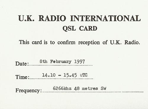 UK Radio QSL
