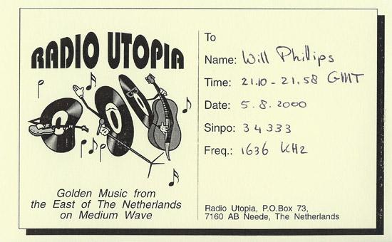 Radio Utopia QSL