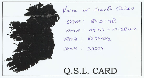 The Voice of South Dublin QSL