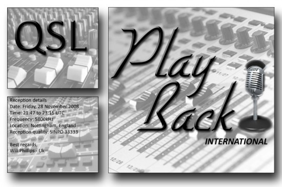 Playback International QSL