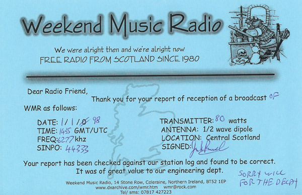 Weekend Music Radio QSL