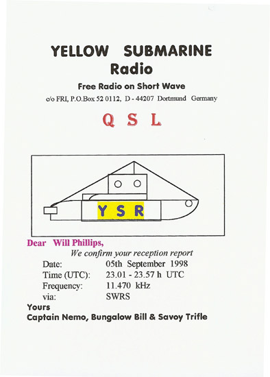 Yellow Submarine Radio QSL